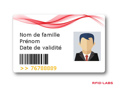 Badge magnétique avec personnalisation électrique (encodage) et graphique (impression photo couleur, nom, prénom, code barre, numérotation laser)