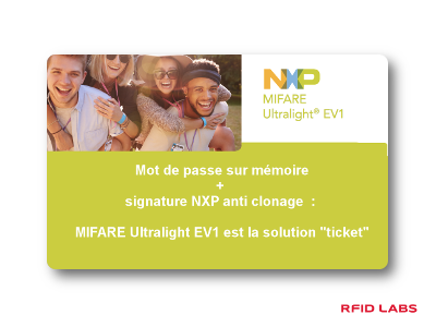 Carte et badge RFID MIFARE ULTRALIGHT EV1 TICKET