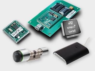 Lecteurs de carte RFID USB, lecteur RFID OEM et serrure autonome sans contact MIFARE® sont présentées comme moyen de lire les cartes et badges RFID