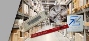 Tag et étiquettes RFID UHF devant un entrepot