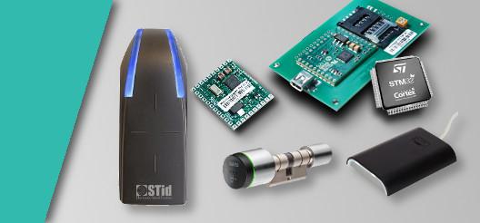 Une gamme de lecteur de cartes RFID est présentée, donc un lecteur mural STID, une serrure autonome SALTO et un lecteur USB HID Omnikey