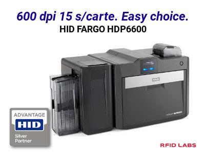 L'imprimante de badge HID FARGO HDP6600 offre une qualité d'impression en 600 DPI et imprime 1 carte en 15 s soit 230 carte par heure.