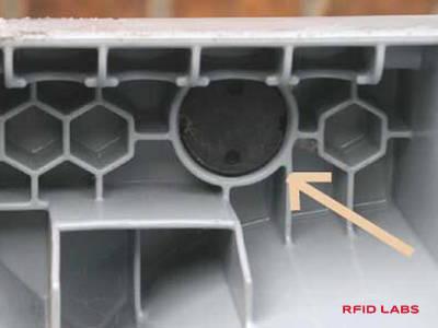 Emplacement d'un TAG RFID sur conteneur à déchet